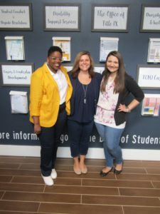 Photo of the 3 members of the TCNJ Cares Program, Briana, Elizabeth and Alexa.
